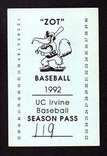 "1992 UC IRVINE ANTEATERS BASEBALL SEASON PASS TICKET SCHEDULE "" ZOT "" BASEBALL"