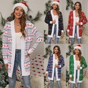 Christmas Xmas Womens Reindeer Jumper Tops Cardigan Print Coat Jacket Loungewear