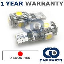 2X Rojo W5W 501 Luz Lateral Número De Matrícula Repetidor de interior 5 Bombillas LED SMD CANBUS