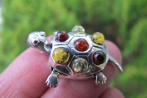 Turtle Amber Mixed Colours moving parts Pendant Small Crystal Fossil 925 Silver