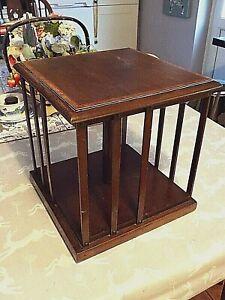 Edwardian Mahogany Wooden Table Top Rrevolving Bookcase Sheraton Revival