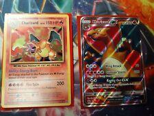 Charizard Evolutions Holographic Pokemon Card #11 & Charizard GX SM60