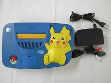 A10 Nintendo 64 console Pokemon Pikachu Blue Yellow Japan N64 w/adapter