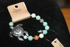"Sea Life Silver Tone 1 1/2"" Sea Turtle, Blues, Greens, Glass Beads Bracelet"