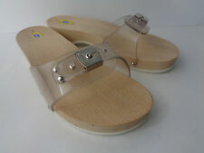 Dr Scholl's US 9M Original Excercise Sandal Shoe Clear Upper Wood Rubber ITALY