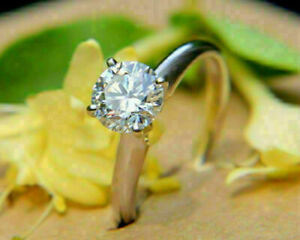 2Ct Round Moissanite Solitaire Engagement Ring Solid 14K White Gold Finish