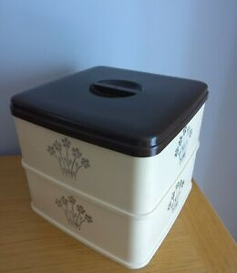 Vintage Stewart Double Cake Box Container. Beige with brown lid. 25cm Square
