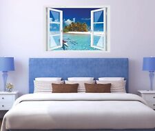 Wandtattoo Fenster 3D Optik Wandsticker Aufkleber Deko Bild - Insel Traum