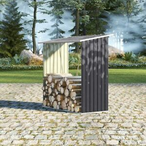 Outdoor Wood Logs Store Holder Metal Garden Shade Firewood Stacking Storage Shed