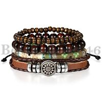 4pcs Brown Leather Tribal Beaded Cuff Wristband Bangle Bracelet for Men Women
