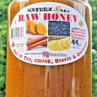 RAW HONEY w/ GINGER, TURMERIC, CINNAMON & BLACK SEED 44oz / 1247g 100% PURE RAW