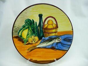 "Decorative 10 1/2"" Wall Plate Made In Spain Fish Lemons Wine Bottle"