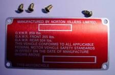 1972-74 Norton Commando 750 & 850, OEM, Frame ID Tag & Drive Screws 06-3247