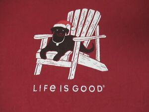 LIFE IS GOOD BLACK LAB IN SANTA HAT ON BEACH CHAIR - RED XXL 2XL T-SHIRT F1895