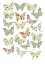 20 icing cupcake cake toppers decorations edible Floral butterflies images ND2