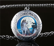 Wolf With Moon Photo Cabochon Glass Tibet Silver Locket Pendant Necklace#Q40