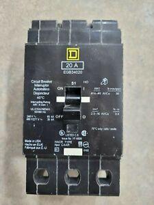 Square D EDB34020 20A 3 Pole Bolt On Circuit Breaker