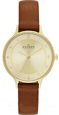 Women's Brown Skagen Anita Leather Band Watch SKW2147
