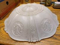 ANTIQUE ART DECO LARGE MOLDED CUT GLASS SHADE LAMP LIGHT FIXTURE CHANDELIER 15""