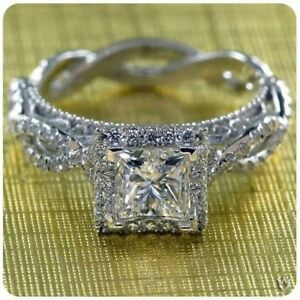 14K White Gold Over Princess Diamond Engagement Ring Ladies Wedding Band