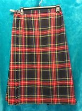 VINTAGE Hector Russell KILT Skirt Wool Red Blue Green Plaid Inverness Scotland
