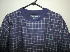 Ralph Lauren Polo Golf Mens Blue Plaid Lined Pullover Wind Pony Sweater XL Mint