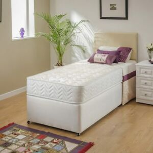 Stunning Micro-quilted Damask Bed and Mattress-Single 3ft, Double 4ft6, King 5ft