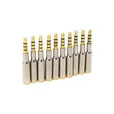 10 x MASCHIO a 4 POLI 45mm Donna 3.5mm Argento Placcato Oro in Metallo Jack per Cuffie