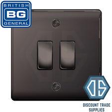BG Nexus Black Nickel 2 Gang Switch 1x Intermediate 1x 1 or 2 Way Custom Grid