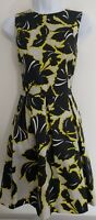 Womens Warehouse Dress size 10 fit&flare black yellow flower occasion party vgc