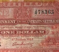 1925 Straits Settlements J/49 78365 $1 Banknote  high grade (Jump ladder 3-9, J