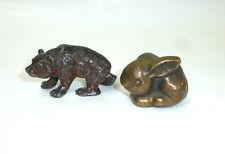 Zwei Figuren  Bär Hase Kaninchen Bronze