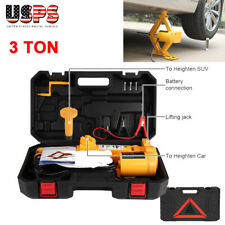 12V 3 Ton Automotive Electric Scissor Car Jack Lifting Impact Wrench Tools Kit