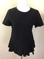 New With Tags Women's J Crew Black Peplum Short Sleeve Top Size Small