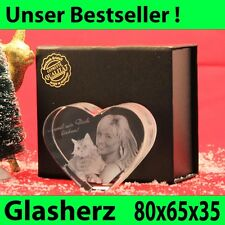 Herz Klein Glas 3D Laser Gravur Geschenkidee Ehemann Partner Feste Hochzeit Deko