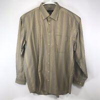 Jhane Barnes Mens Silk Long Sleeve Button-Front Multicolor Striped Shirt Sz 1XT