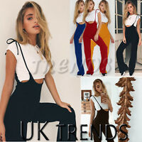 UK Womens Summer Dungarees Wide Leg Holiday Jumpsuits Playsuits Culotte 6-14