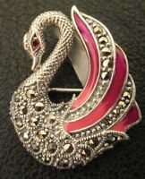 925 Sterling Silver & Marcasite Swan Charm  Brooch  or Necklace Pendant.