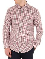Ben Sherman Cotton Gingham Check Shirt Regular Long Sleeve Button Off White Red