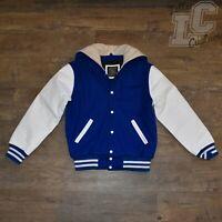 VarsityThreads Premium Leather & Wool Varsity Womens Jacket Royal Blue & White