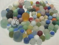100 Vintage Glass Sea Style Beach Marbles Cats Eye Gem Swirls Speckled Pretty #4