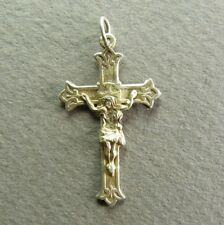 French Antique Religious Crucifix Sterling Silver Jesus Christ Cross Hallmarked
