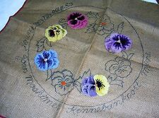 VINTAGE CIRCLE PANSY JOAN MOSHIMER PUNCH HOOK BURLAP STOOL OR PILLOW COVER