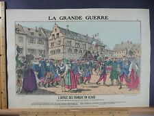 Rare Antique Original VTG WW1 L'entrée Des Français En Alsace Litho Art Print