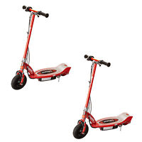 Razor E100 Kids Motorized 24 Volt Electric Powered Ride On Scooter, Red (2 Pack)