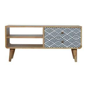 Rustic Funky Retro Scandinavian Style Media TV Unit -  2 Drawers & Open shelves