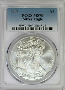 2002 PCGS American Silver Eagle MS70 -Perfect- White Coin Top Pop
