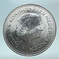 1970 Netherlands Kingdom Queen JULIANA Authentic Silver 10 Gulden Coin i80960