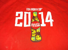 2014 Coca Cola FIFA World Cup Soccer Football T Shirt Sz XL Futbol Red