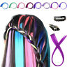 2pcs Clip In On Colorful Hair piece Synthetic Straight Hair Extensions Highlight